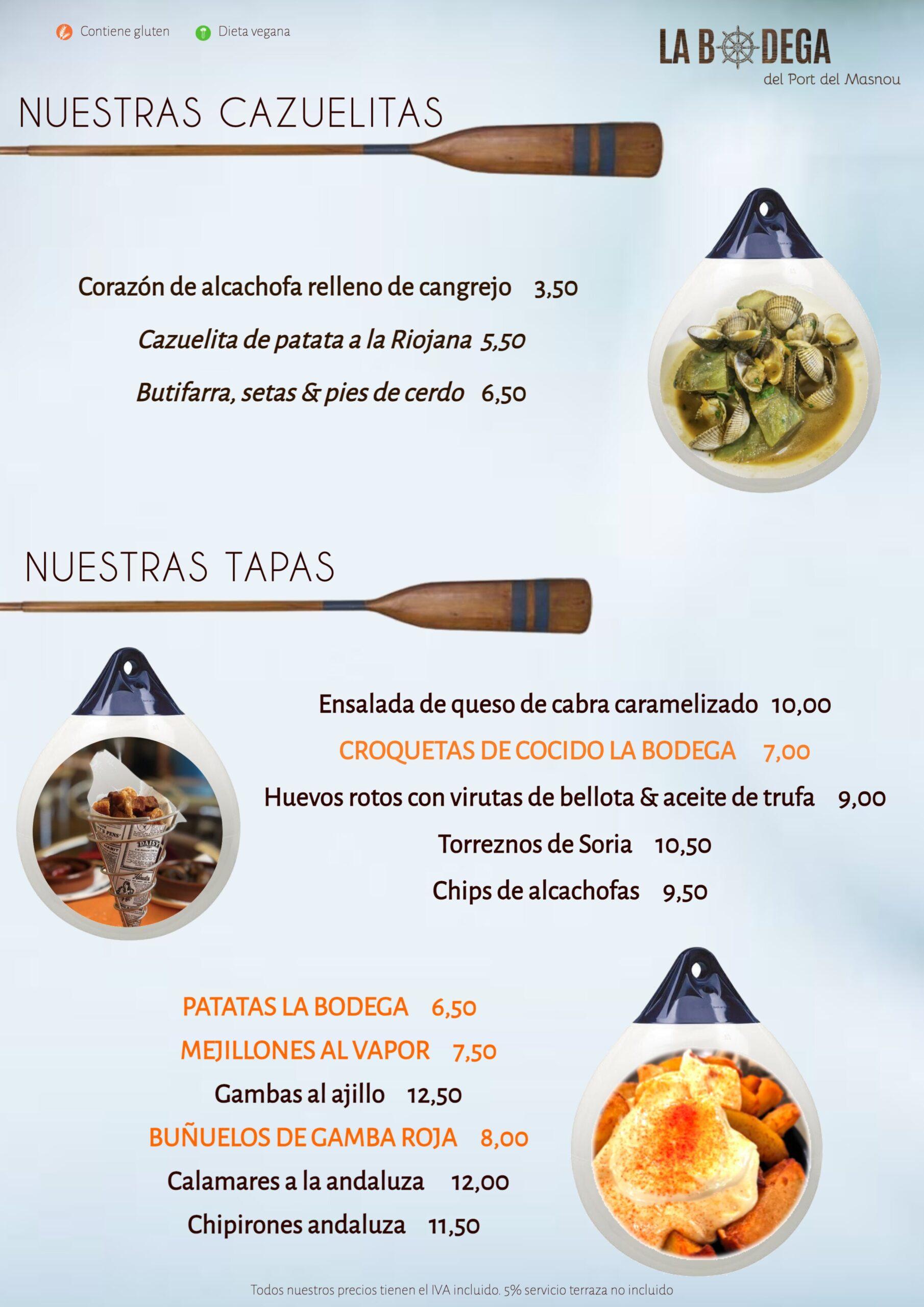 menu diario la bodega port masnou